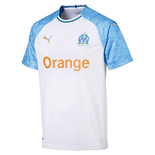 Puma Olympique de Marseille Home Maillot Homme, White/Bleu Azur, X-Large