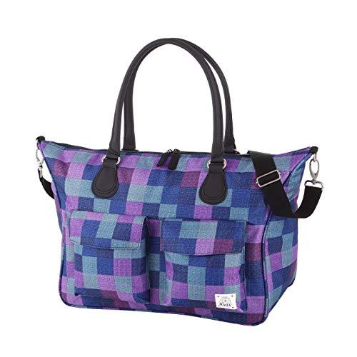 """Rada Shopper Rainbow Laptoptasche 15,4"""", Multifunktionstasche, große Handtasche, Umhängetasche, vielen Fächern, strapazierfähig, wasserabweisend, gepolstertes Notebookfach (purple blue caro)"""