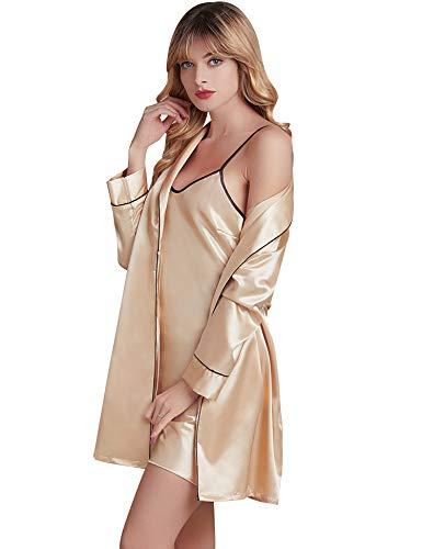 iClosam Vrouwen Sexy Slaapmode 2 Stuks Satijn Nachtkleding Zijde Dressing Jurk Kimono Robe met Strap Nachtkleding voor Dames Loungewear