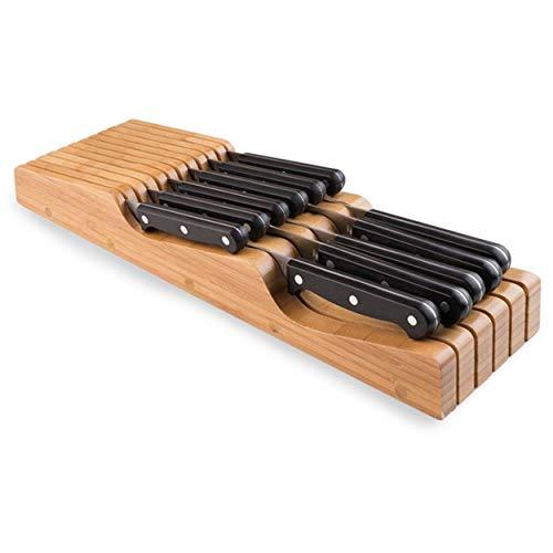 Universeel Bamboe Messenblok voor 11 Messen - Bamboo Messenhouder Zonder Messen - Messenopberger Geschikt voor Bestek Lade - Hout