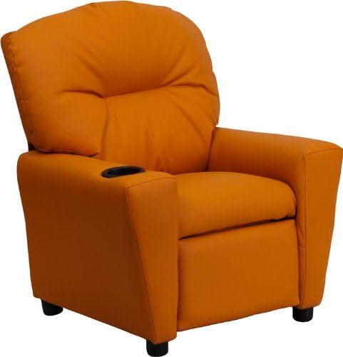 Best Flash Furniture Contemporary Orange Vinyl Kids Recliner with Cup Holder