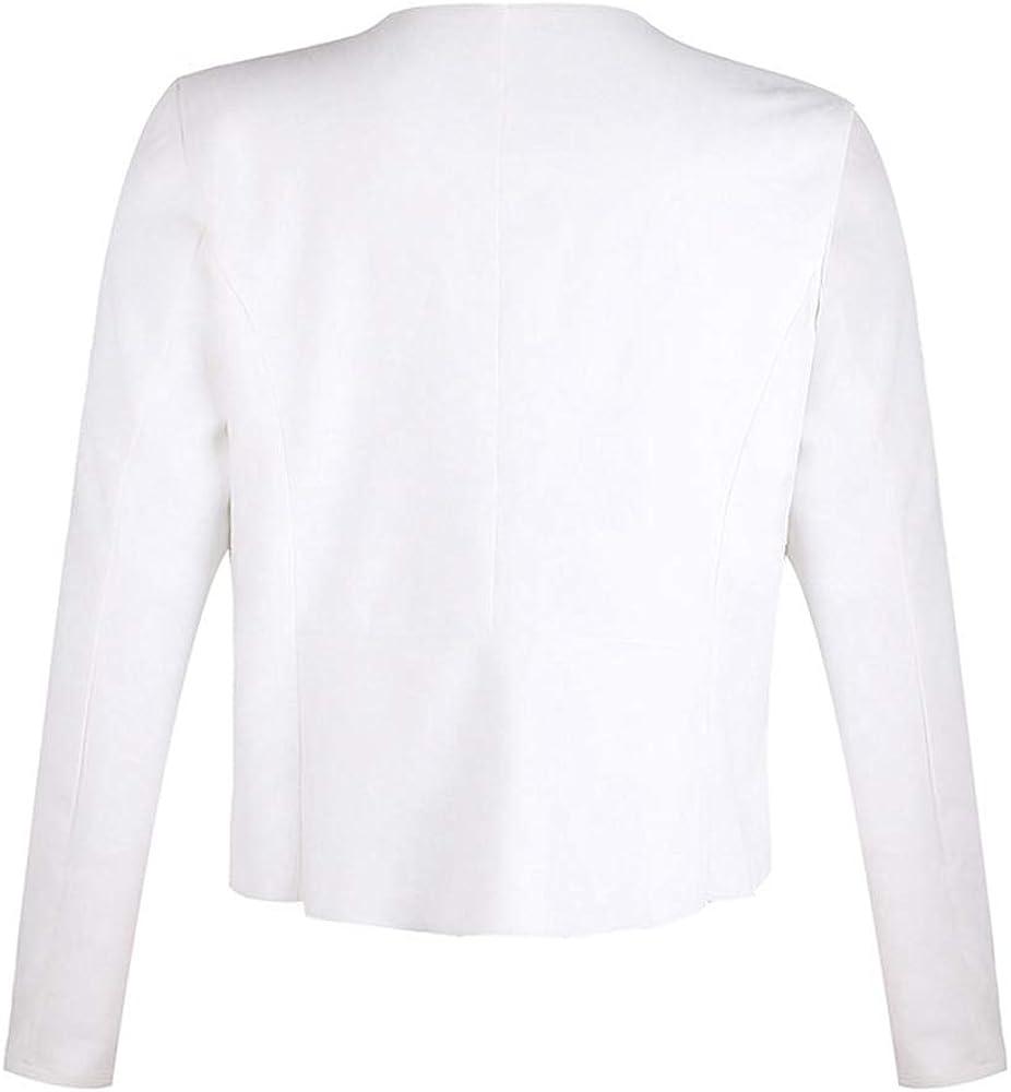 Dawwoti Damen Wildleder Blazer Mantel Vorne Offen Revers Beiläufige Over Coat Weiß