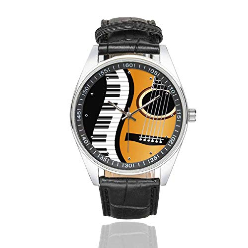 InterestPrint Piano Keyboards Guitar Men's Waterproof Wrist Watches Casual Fashion Watches