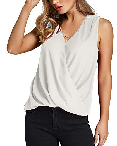 YOINS Cold Shoulder Sleeveless Shirts for Women V Neck Casual Surplice Tank Tops White XL