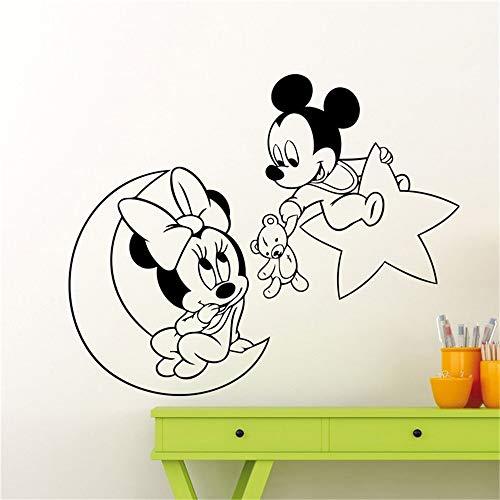 stickers muraux autocollant Mickey Mouse Minnie Mouse Moon Étoile Nursery Cartoon Décor À La Maison Décorations Pour Bébés Autocollant