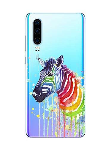 Oihxse Cristal Clear Coque pour Huawei Nova 3 Silicone TPU Souple Protection Etui [Jolie Aquarelle Animal Design] Anti-Choc Anti-Scratch Bumper Housse Ultra Fin Case (B10)