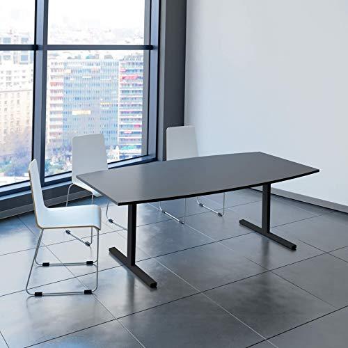 Easy Konferenztisch Bootsform 200x100 cm Anthrazit Besprechungstisch Tisch, Gestellfarbe:Anthrazit