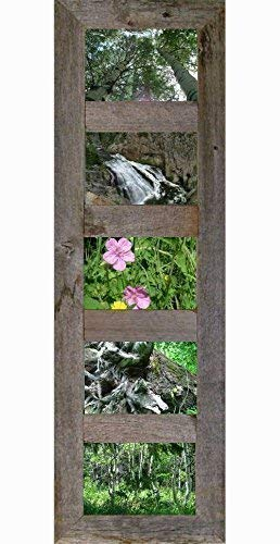 8 Opening 4x6 Multi Panel Collage Picture Frame Reclaimed Barn Wood Distressed Multiple Framed Photo Family Pic Distressed Rustic Farmhouse Decor Decorative Wall Hanging White Country Western