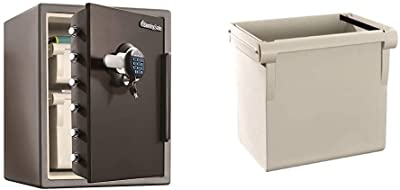 SentrySafe SFW205GQC Fireproof Safe and Waterproof Safe with Dial Combination 2.05 Cubic Feet Gray/Black & 917 File Organizer Accessory, For SFW205 Fire Safes