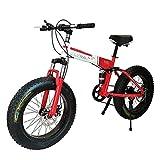 Bicicleta Plegable Bicicleta de montaña de 26 Pulgadas con Marco de Acero superligero, Bicicleta Plegable de Doble suspensión y Engranaje de 27 velocidades, Rojo, 24 velocidades