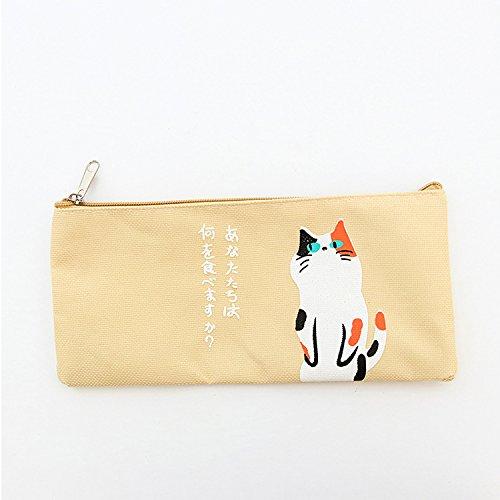 Happy Star - Estuches de lona con diseño de gatos japoneses para cosméticos, maquillaje y bolígrafos, color beige