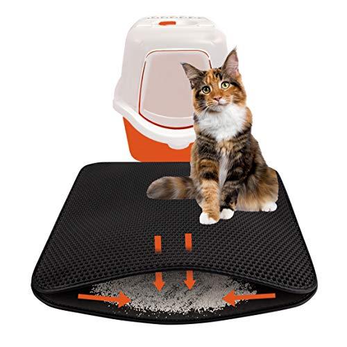 Dekolona® KATZENKLO-Matte 75x55 cm innovatives Kronen-Wabendesign fängt Katzenstreu aus Katzen-Toilette perfekt auf - Premiumqualität (schwarz)
