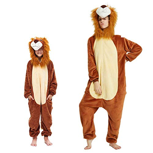 Pijama Kigurumi Animal Disfraz para Carnaval, Halloween, fiesta, Cosplay Chándal Adultos y Niños Leone 2 10-12 años