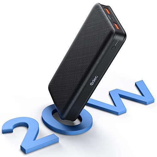 Batería Externa 20000mAh, 20W USB C Power Bank con 3 Salida y 2 Entrada QC 3.0 Cargador portátil de 18W Carga rápida con cables de 1.2m, para iPhone 12Pro6, Samsung, Huawei, Tablets y más