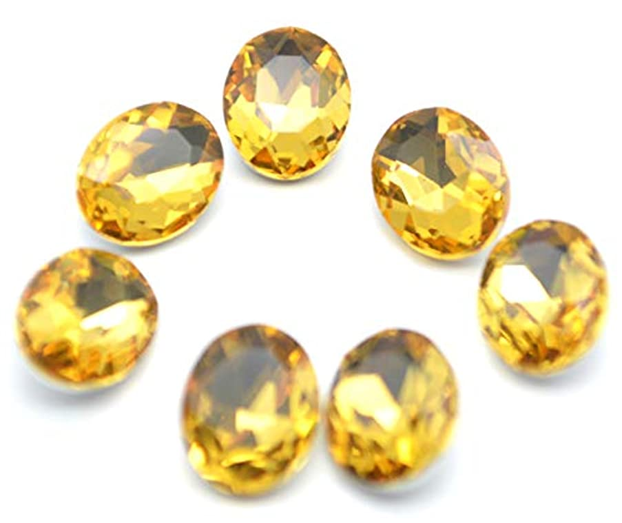 Catotrem Oval Rhinestone Glass Faceted Round Diamond Silver Pointback Beads for Charm Jewelry 8X10mm 60pcs(Yellow)