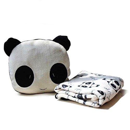 Delmkin Kinderdecke Süß Panda Plüsch Decke & Kissen Kombi-Sets