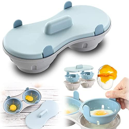 Gloryit Eierkocher aus Kunststoff pochierte Eier Eierkocher Eier Kochen Mikrowelle Eierkocher 2 Ei Draining Egg Boiler Geeignet für Mikrowelle Verfügbar Geschirrspülmaschine Reinigung(Blau)