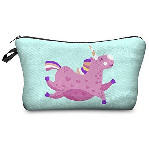 Trousse de maquillage Fringoo® pour femme - Petite trousse de toilette imprimée avec licorne - Organisateur de pinceaux à maquillage Pink Unicorn - Make Up Bag L23 x H14 x W8 cm