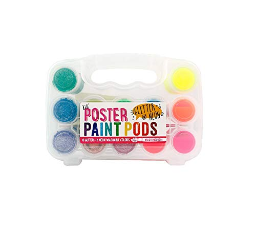 Ooly Lil' Poster Paint Pods - Set of 12 - 6 Neon and 6 Glitter Colors - Washable - Brush Included