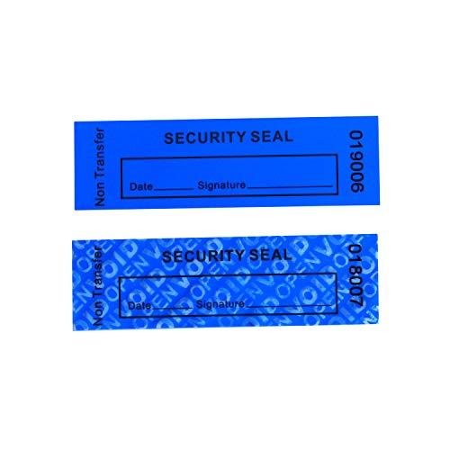"""100 etiquetas sin transferencia a prueba de manipulaciones """"VoidOpen"""" para paquetes reutilizables o superficie costosa (azul, 1 x 3.3 pulgadas, números de serie - TamperSTOP)"""