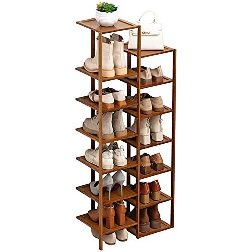 Equipo para el hogar Estante portátil para zapatos Unidad de almacenamiento Estante de entrada Gabinete apilable Estante para zapatos de madera de bambú Torre para zapatos Estante para zapatos Orga