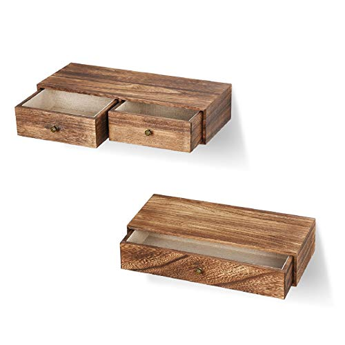 Emfogo Floating Shelf with Drawer Rustic Wood Wall Shelves for Storage and Display Multiuse as A Nightstand or Bedside Shelf Set of 2 Carbonized Black