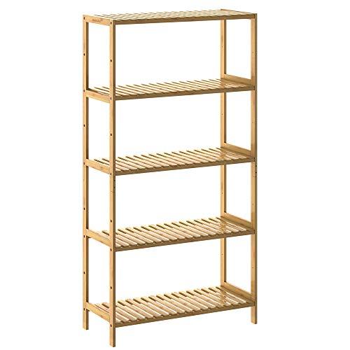Casaria Standregal Badregal Bambus 5 Ablagen Höhenverstellbar 130x60x26 cm Stabil Küchenregal Kellerregal Bad Küche Regal Holz