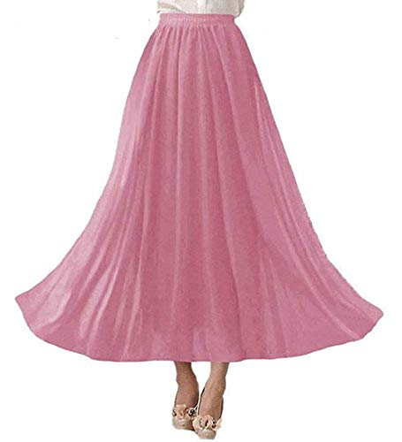 Laorchid Damen Elastische Taille Maxi Langer Sommerrock Plissee Rock Rosa M