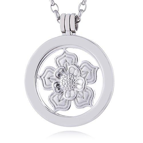 Morella Mujeres Collar 70 cm Acero Inoxidable con Amuleto y Colgante Coin 33 mm Flor de Loto Plateado en Bolsa de la joyería