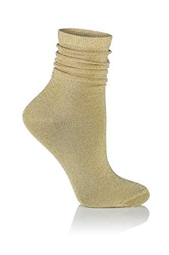 Glamour Stardust Damen-Socken T146, mit Lurex-Gold, glänzend, modisch, für Partys, modern