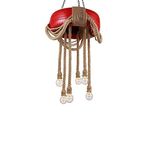 Lámpara de techo retro de 6 luces Luces de cuerda Candelabro Cuerda de cáñamo rústico Candelabro de hierro Lámpara colgante Accesorio Pintura de llantas Lámpara colgante Lámpara de techo tejida a man