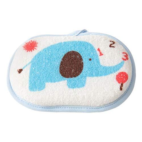 Esponja de baño de bebé lindo Esponja de ducha de espuma de baño natural suave y no irritante para niños Niños pequeños Recién nacidos Cepillo de toalla de limpieza, elefante azul