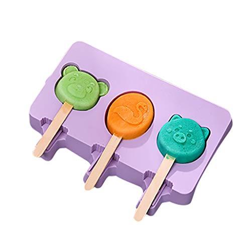 MULIN Cute Cartoon Ice Cream Mold Food-Grade Silicone Popsicle Mold Multiple Uses with 50 Ice Cream Sticks and Lids Ice Cream Mold