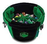 heks Bolsa de dados con compartimentos flexibles – para 150 dados poliedricos, de terciopelo, color negro y verde, ideal para juegos de rol Pen and Paper como DND, DSA, Call of Cthulhu y Dice Bag