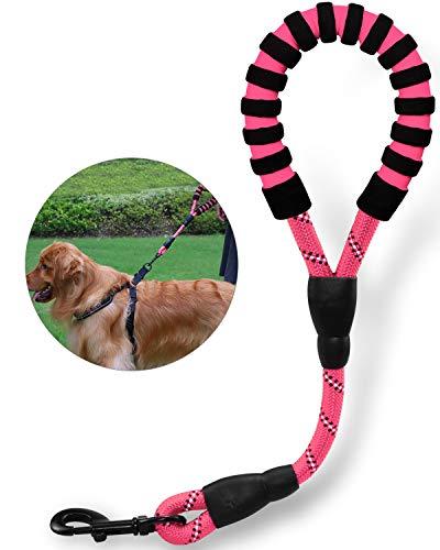 TagME Reflektierend Kurzführer Hundeleine, Komfortabler Gepolsterter Griff, Seil Hundeleine für große Hunde 40cm,Rosa
