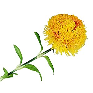 NUOBESTY Artificial Flower Stems Fake Real Touch Silk Pompon Flower Bouquets Hydrange Dahlia Daisy Flower Arrangement for Vase Wedding Bridal Home Office Decor Yellow