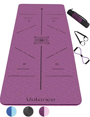 Volance Tapis de Yoga Antidérapant, avec Lignes d'alignement du Corps en TPE Matériaux Tapis Yoga Durable Tapis de Yoga et Antidérapant Anti-Transpiration avec Sangle et Sac 183 * 61 * 0,6 cm(Violet)
