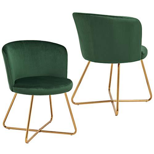 2x Sedia da sala da pranzo sedia imbottita design retro vintage con piedini in metallo sedia di sala d'attesa conferenza Duhome 8076X, colore:verde scuro, materiale:velluto