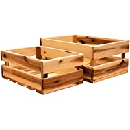 Thirteen Chefs Villa Acacia Wooden Farmhouse Storage Crate 2-Pack, 11.5 and and 13.5 Inch