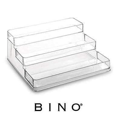 BINO 'Stadium' 3-Tiered Pantry Cabinet Plastic Storage Organizer Rack – Storage for Kitchen, Refrigerator, Freezer and Pantry , Clear