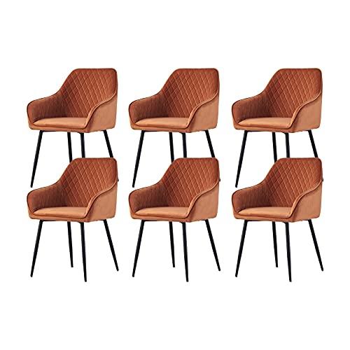 6X Wohnzimmerstuhl Esszimmerstuhl aus Stoff (Samt) Farbauswahl Retro Design Armlehnstuhl Stuhl mit Rückenlehne Sessel Metallbeine Schwarz (Orange, 6)