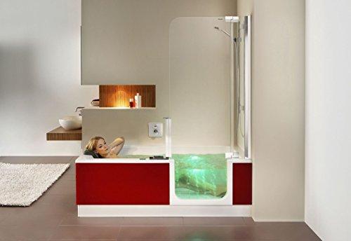 Artweger Twinline 2 Whirlpool Badewanne mit Türe und Dusche Türe rechts Duschprofil Metall hochglanz