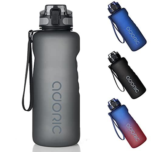 Adoric Trinkflasche 1500ml Auslaufsichere BPA-frei Outdoor Sportflasche aus Tritan Wasserflasche Kinder für Sport Fitness Fahrrad Grau