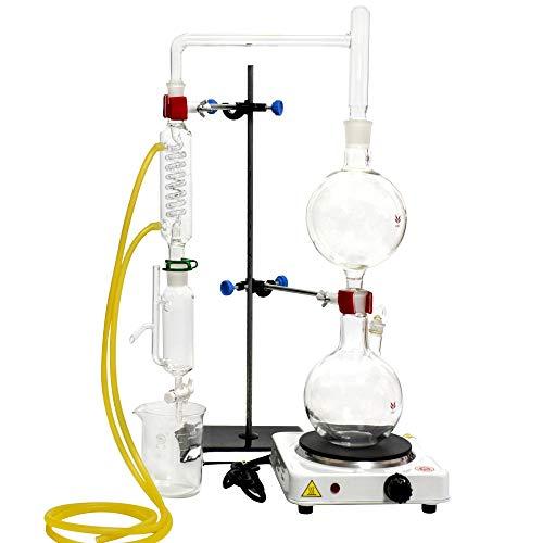 Destilación de aceites esenciales de laboratorio, 500 ml, destilador de agua, purificador de cristalería kits con condensador Graham para estufa caliente