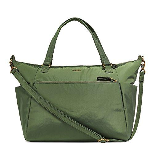 Pacsafe Stylesafe Tote Shoppertasche, Schultertasche für Damen, Handtasche mit Diebstahlschutz, Umhängetasche mit Sicherheits-Features, 14,5 Liter, Grün/Kombu Green