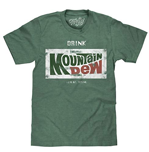 Tee Luv Retro Drink Mountain Dew Shirt - Distressed Mt Dew Logo T-Shirt (Forest Heather) (S)