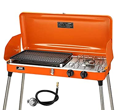 PUPZO Liquid Propane Grill,2 Burner Grill/Stove Portable Barbecue Grill Outdoor Cooking Camping Stove Stainless Steel