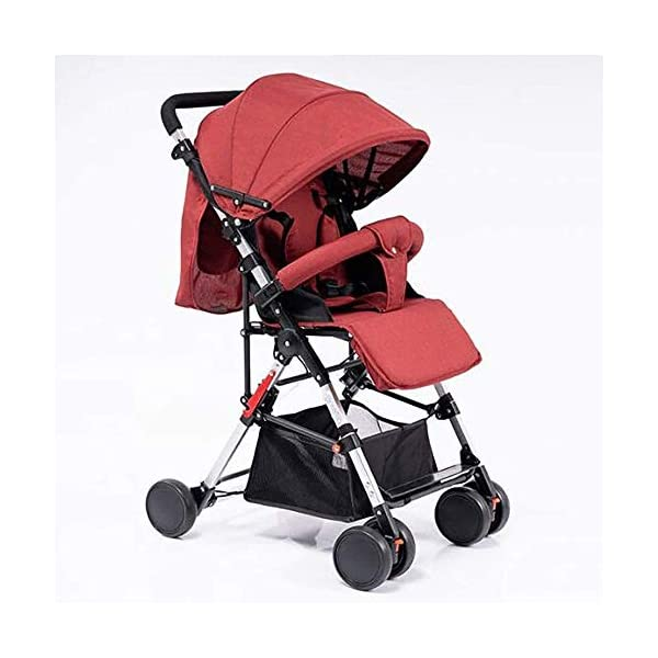 LAMTON High Landscape Easy Folding Baby Light Jogging Detachable Four Season Baby Stroller, Suitable for 0-36 Months Baby Can Withstand 55PL LAMTON This high-view stroller is made of linen and breathable. The frame is made of aerospace aluminum to make the body lighter, more stable and safer. The awning can be adjusted at any angle to cope with all kinds of weather. The awning is equipped with a back pocket for parents to store items they carry with them, such as mobile phones and car keys. The tires use EVA solid foam wheels to avoid problems with aeration and puncture. The rear wheels are equipped with brakes, front wheel suspension and 360° steering for a variety of roads. 1