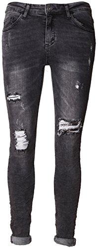 Basic.de dames jeans met pailletten Destroyed-jeans scheuren