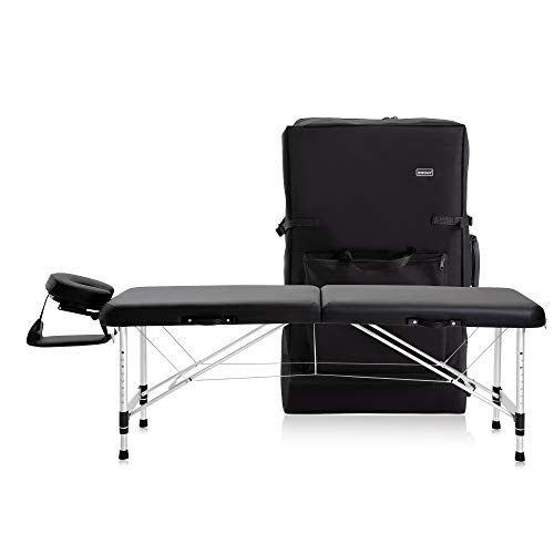 DR.LOMILOMI Ultra-light Travel-sized Aluminum Portable Massage Table Spa Bed 302 - HALIA (W22' X L71', Black)